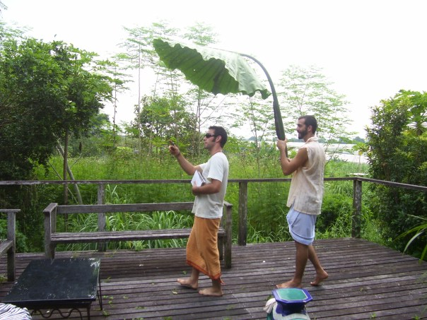 Gautie assisting Doug with designat Green Cricle Farm in Singapore