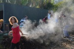 Hot Compost pile turning, Escola da Terra, 2011