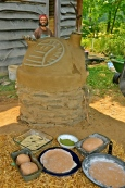 Turkey Cob Oven with pizza ingredients, Treasure Lake 2012