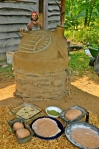 Turkey Cob Oven with pizza ingredients, Treasure Lake, Kentucky, USA, 2012