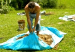 Doug Crouch making Cob for Turkey Cob OvenTreasure Lake, Kentucky, USA, 2012