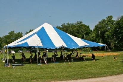 Yoga session in the tent, Pollination Festival, Treasure Lake, 2014