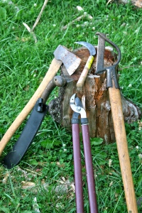 hand tools for managing the forest, Chop and Drop at Treasure Lake, Kentucky, 2014