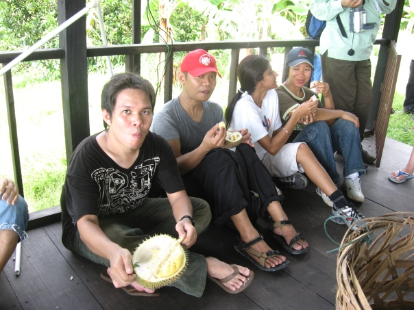 Enjoying Durian during break