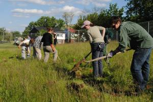 swale at urban greens, a Permablitz that we organized with the Cincinnati Permaculture guild