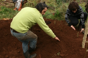 Doug leading circle or pit garden implementation- doug demosntrating earthworks within earthworks, the inner terrace