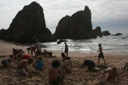 At the beach reviewing earthworks in the stunning sandbox known as Praia de Ursa