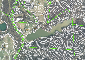 GIS aerial of Treasure lake with a field, 15 acre lake, and forest blend with mixed topography and aspect