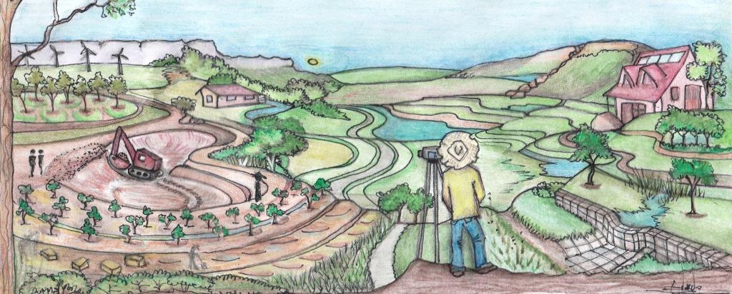 Permaculture Earthworks landscape, by Bonita Edwards