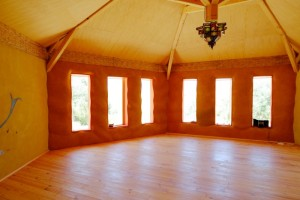 strawbale yoga studio at the center. one of our classrooms.