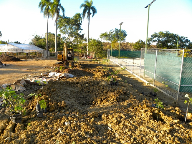 Rain Gardens in Dominican Republic dug by a machine driver led by Doug to deal with rainwater runoff
