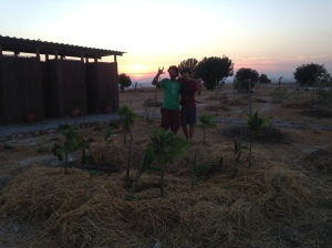 Myself and Jacob working till sunset in the field, manifesting design work