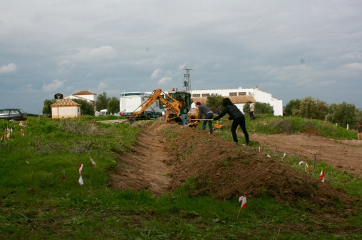 machine and by hand digging, Earthworks in Spain led by Doug