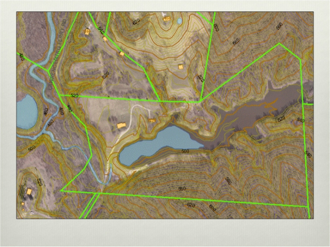 aerial GIS of the property, showing how much water the old lake held and what new dam holds