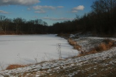 Frozen lake with lots of wildlife tracks, and mine!