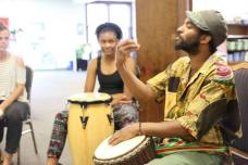 Lawrence leading on the drums and culture dispersal