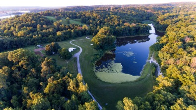 Drone image of the lake looking east