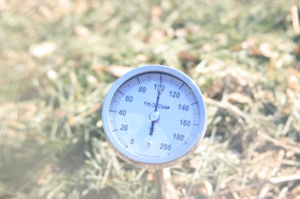 monitoring temperature with compost thermometer